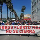 Instantes de la manifestación de este pasado viernes en Puerto Real