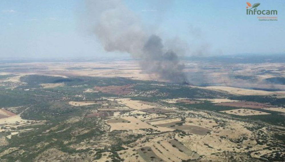 Imagen aérea del incendio agrícola de Corral de Calatrava