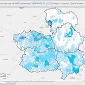Mapa de Castilla-La Mancha con los datos de casos positivos por provincias durante la semana pasada