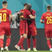 El jugador belga Lukaku celebra su segundo gol frente a Rusia (3-0)