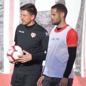 Rubén Reyes, en un entrenamiento del Rayo Vallecano.