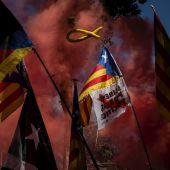 Concentración contra Pedro Sánchez en Barcelona en vísperas de su discurso donde anunció la aprobación de los indultos