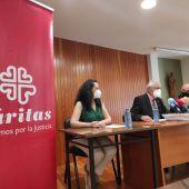 Miembros de Cáritas Ciudad Real durante la rueda de prensa
