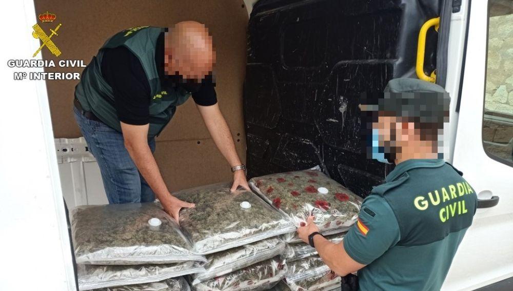 Agentes de la Guardia Civil con la marihuana interceptada en Monforte del Cid.