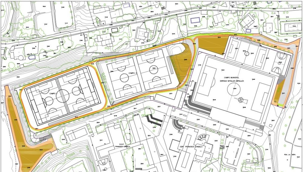 Plano circuito de entrenamiento multidisciplinar proyectado en Crevillent.