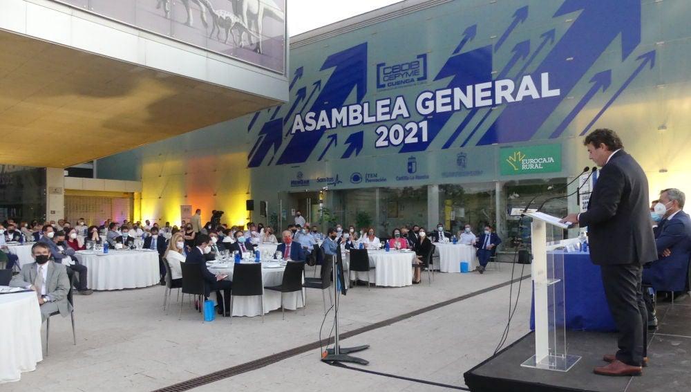David Peña, durante su intervención ante la asamblea