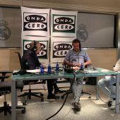 De la Morena con Florentino Pérez en la entrevista en el Santiago Bernabéu