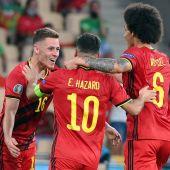 Bélgica celebrando un gol de Thorgan Hazard