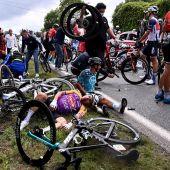 Caída de los ciclistas en el Tour de Francia