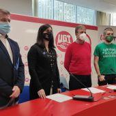 Representantes sindicales de UGT, CCOO, Suatea y ANPE