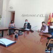 Rueda de prensa del alcalde de Elche acompañado de integrantes del equipo de Gobierno.