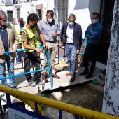 Instantes de la visita de las obras en Sanlúcar
