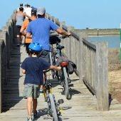 Ciclistas transitando por el Caño del Río San Pedro, en Cádiz