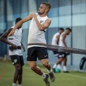 Ismael Casas en un momento de un entrenamiento durante la pretemporada del Málaga CF