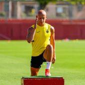 El jugador del Real Mallorca, Víctor Mollejo, durante un entrenamiento