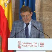 El president, Ximo Puig, en su comparecencia de esta mañana