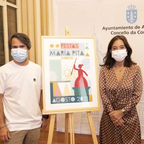 Héctor Francesch, autor del cartel, junto a la alcaldesa, Inés Rey