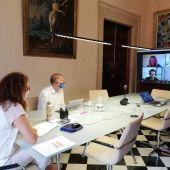 La presidenta del Consell de Mallorca, Catalina Cladera, y el conseller insular de Turismo y Deportes, Andreu Serra, duranta una reunión telemática con agentes turísticos