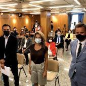 De izda a dcha: el secretario de Estado de Infraestructuras, la ministra de Transportes y el delegado del Gobierno en Galicia