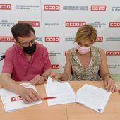 Carmen Juste, Secretaria General de CCOO Albacete y José Luis Martínez Castillo, Coordinador regional del sector autonómico FSC CCOO CLM
