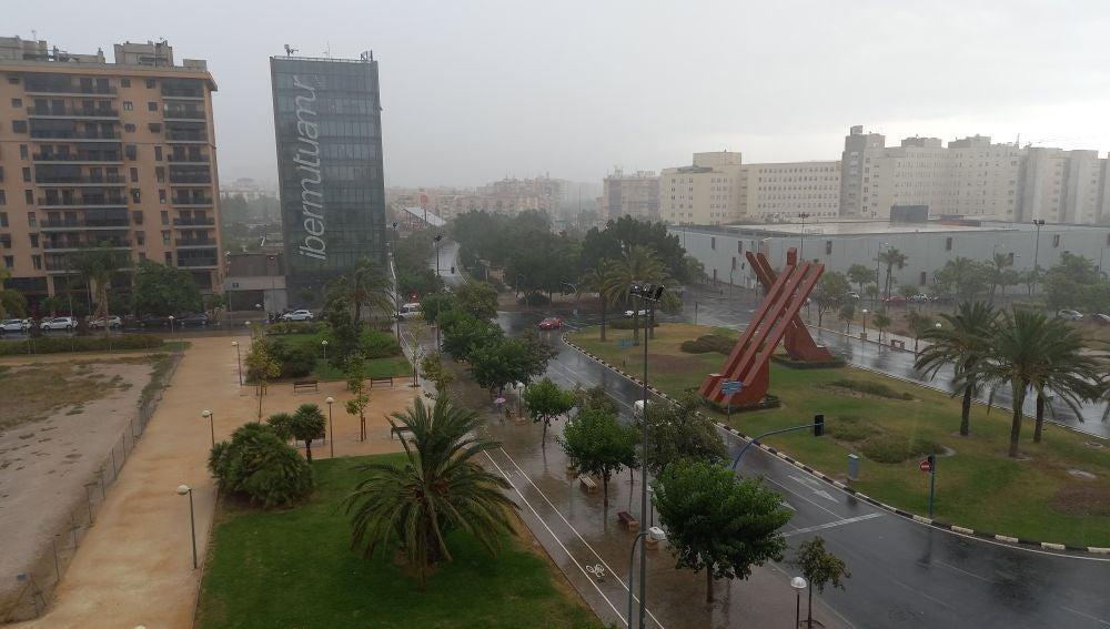 La fuerte lluvia restó visibilidad al horizonte