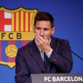 Leo Messi, durante la rueda de prensa de su adiós al Barça