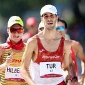 El atleta de Ibiza Marc Tur, durante la carrera de 50 kilómetros marcha de los Juegos Olímpicos de Tokio.