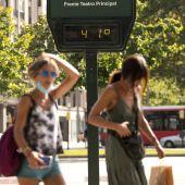 Mujeres caminando por la calle a 41 grados