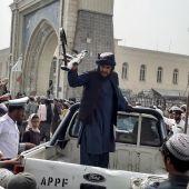 Una patrulla de los talibanes, este domingo en la ciudad de Kandahar, Afganistán