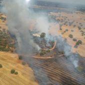 Perimetrado el incendio de Alburquerque y se incorporan medios aéreos sin que haya que lamentar daños personales