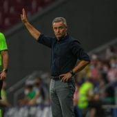 Fran Escribá, dando indicaciones desde la banda en el partido del Elche en el estadio del Atlético de Madrid.