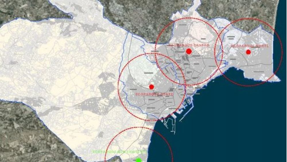 Mapa con la Red de Ecoparques