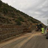 Trabajadores del Servicio de Vías y Obras de la DPT limpiando la carretera