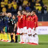 La selección española en el partido ante Suecia