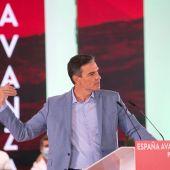 El presidente del Gobierno, Pedro Sánchez, durante el acto del PSOE celebrado en Jaén