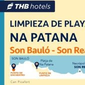 THB hotels organiza la limpieza de la playa de na Patana, en Can Picafort