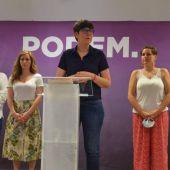 La coordinadora de Podem en la Comunitat, Pilar Lima, en la sede de València.