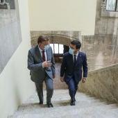 Ximo Puig y Pere Aragonés en el Palau de la Generalitat Valenciana.
