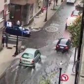 Inundación por la lluvia en Gijón