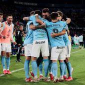 Los jugadores del Celta celebra la victoria ante el Levante
