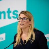 La portaveu de Junts per Catalunya, Elsa Artadi, en una roda de premsa a la seu del partit.