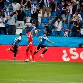 Laguardia celebra su gol ante el Atlético