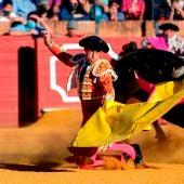 El diestro Manuel Escribano durante una corrida de toros en la Maestranza