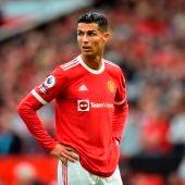 Cristiano Ronaldo durante un partido con el Manchester United