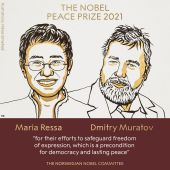 Los periodistas Maria Ressa y Dmitry Muratov, ganadores del Premio Nobel de la Paz 2021