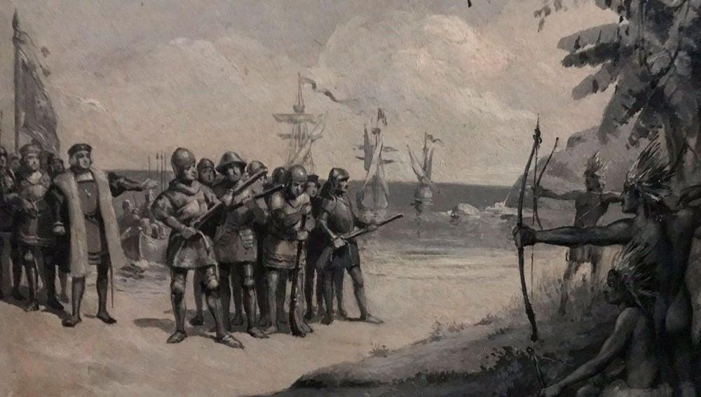 Ilustración de la llegada de Colón a Las Indias