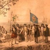 Ilustración de la llegada de Colón al Nuevo Mundo
