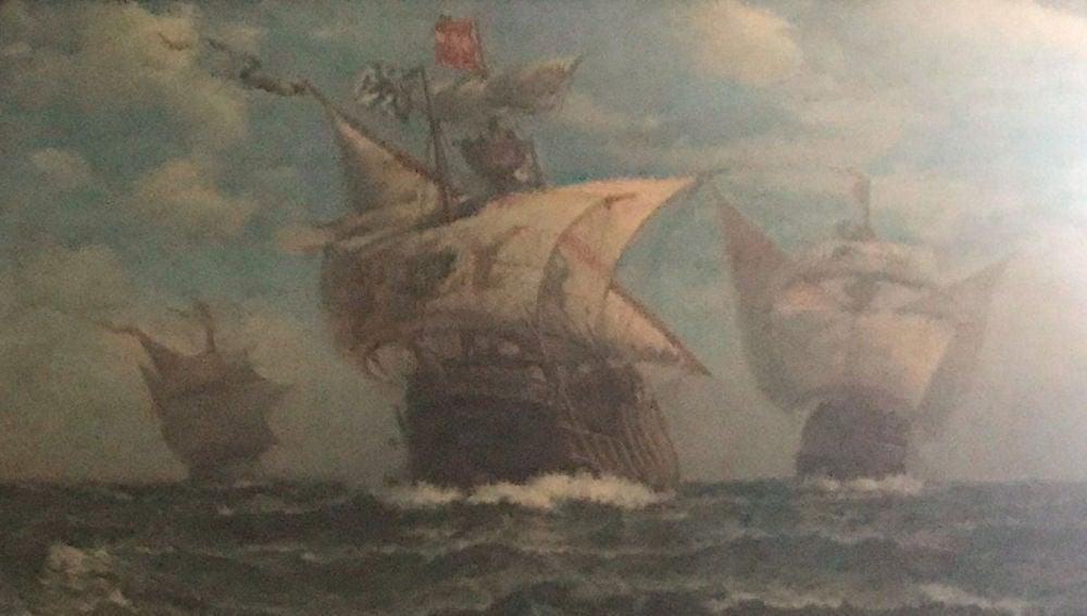 Lámina de la nao Santa María y las carabelas La Pinta y La Niña