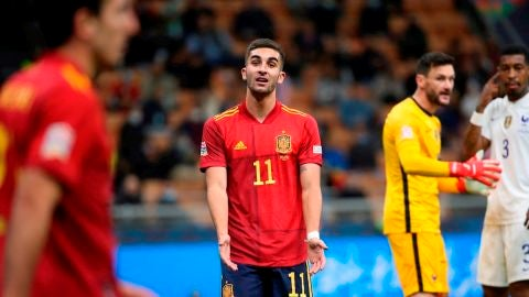 Ferrán Torres se lamenta durante la final de la Liga de las Naciones