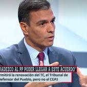 """Pedro Sánchez agradece el acuerdo con el PP aunque considera un """"sinsentido"""" el bloqueo del CGPJ"""